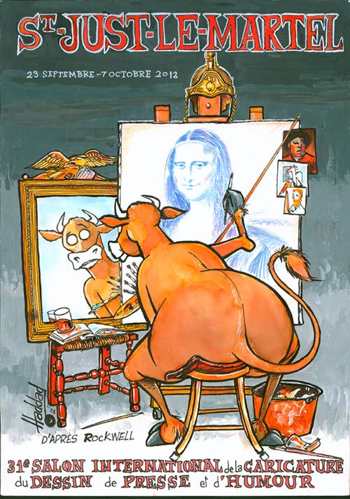 Le crapaud - festival du dessin de presse de Saint-Just-Le-Martel octobre 2012 - affiche du festival dessinée par Haddad