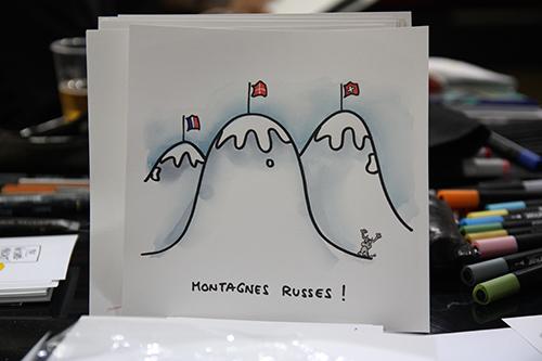 Le crapaud - Jérôme Liniger - festival du dessin de presse de Saint-Just-Le-Martel octobre 2012 - montagnes russes - Savoie