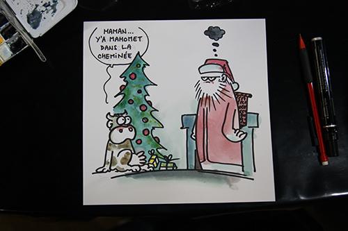 Le crapaud - Jérôme Liniger - festival du dessin de presse de Saint-Just-Le-Martel octobre 2012 - père Noël Mahomet