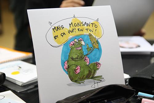 Le crapaud - Nicolas Jacquette - festival du dessin de presse de Saint-Just-Le-Martel octobre 2012 - Maïs Monsanto, et ça pop en toi !