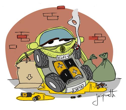 le crapaud - robert fiess - nicolas jacquette - la voiture électrique plus polluante