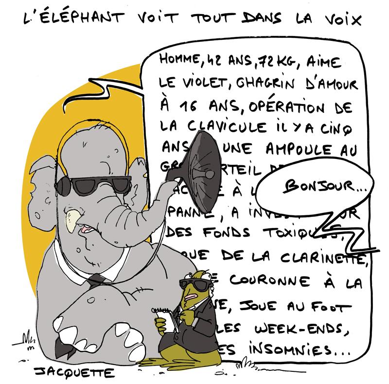 Le Crapaud - Nicolas Jacquette - Robert Fiess - l'éléphant détecte à l'ouie l'agressivité possible des humains