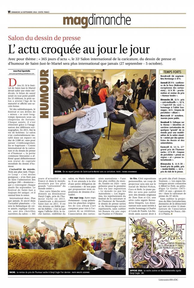 journal le Populaire du centre_Limoges_27-09-2014_02