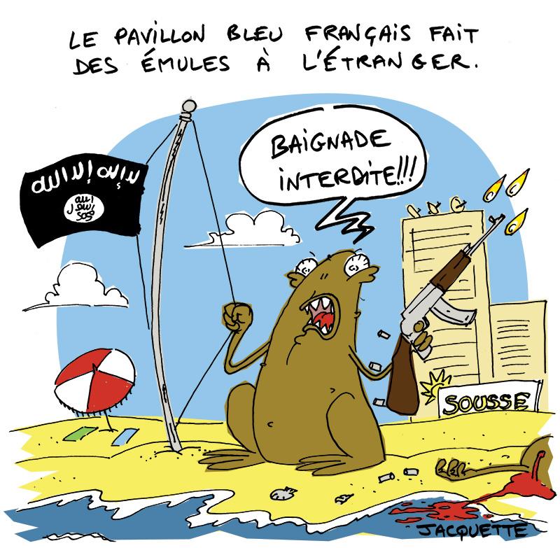 le crapaud - robert fiess - nicolas jacquette - pavillon bleu plages sousse tunisie attentat daesh